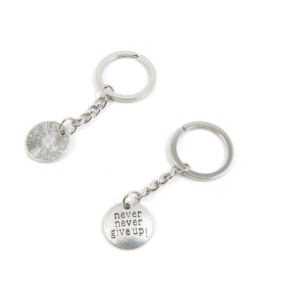 1 Pieces Keychain Door Car Key Chain Tags Keyring Ring Chain Keychain Supplies Antique Silver Tone Wholesale Bulk Lots B1HG6 Never Give Up Sign Tag
