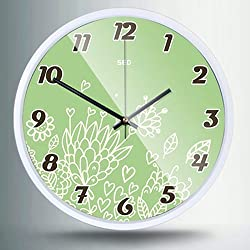 Color Map 12-Inch Large Cartoon Bird Fashion Stylish Concise Design Bedroom/living Room Round Ultra Mute Quartz Movement Metal Frame Wall Clock (Green, White Frame)