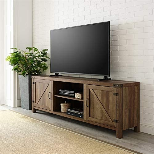 Pemberly Row 70 Farmhouse Barn Door Rustic Wood TV Stand Console with Storage in Rustic Oak