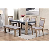 Roundhill Furniture D725-6PC Costabella Dining Collection 6 PC Set, Table with 4 Chairs and Bench