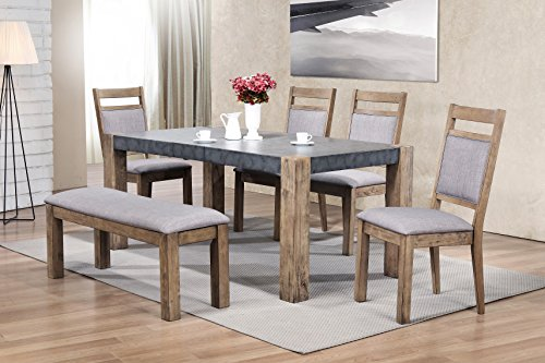 Roundhill Furniture D725-6PC Costabella Dining Collection 6 PC Set, Table with 4 Chairs and Bench (Extending Table Dining Set)