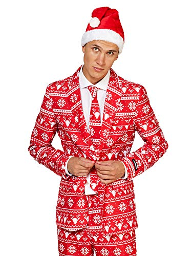 (Suitmeister Christmas Suits for Men in Different Prints – Ugly Xmas Sweater Costumes Include Jacket Pants & Tie + Free)