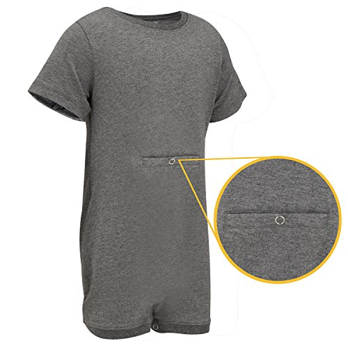 Specialkids Company Special Needs Clothing W Tube Access For Older Children  2 16 Yrs Old    Short Sleeve Bodysuit For Boys   Girls By Kaycey   Grey  7 8 Years Old