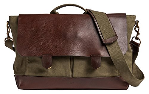 Otter Pass Messenger Bag in Leather & Canvas - Olive & Espresso by Otter Pass