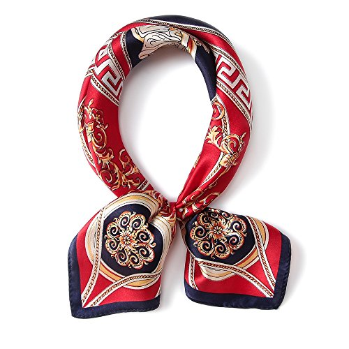 ANDANTINO 100% Pure Mulberry Silk Small Square Scarf -21''21''- Breathable Lightweight Neckerchief -Digital Floral Printed Headscarf (RED)