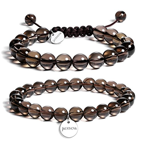 Smoky Bracelet Quartz Quartz - JADENOVA 8/10mm Natural Smoky Quartz Gemstone Bracelets Round Beads Stretch Bracelet Adjustable Beaded Bracelet Couple Distance Bracelets Unisex (2pcs Bracelet Set)