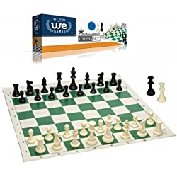 Best Value Tournament Chess Set - 90% Plastic Filled Chess Pieces and Green Roll-up Vinyl Chess Board