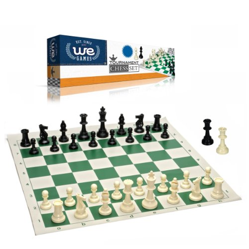 Best Value Tournament Chess Set - 90% Plastic Filled Chess Pieces and Green Roll-up Vinyl Chess Board (Set Wood Popular Chess)
