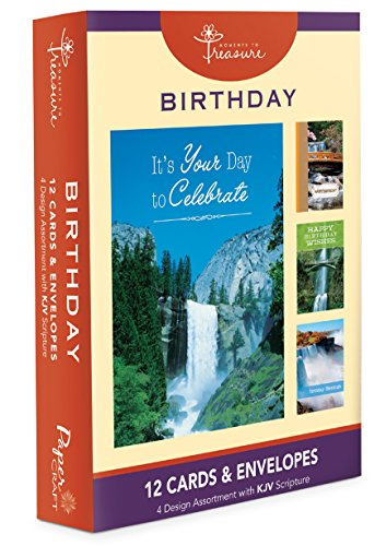 12PK Boxed Waterfalls Birthday Cards Bulk with KJV Scriptures – Waterfall Greeting Cards BDAY for Her for (Him Boxed)