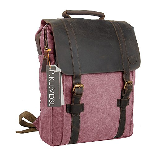 Canvas Backpack, P.KU.VDSL 15.6 Inch Laptop Backpack, Uni...