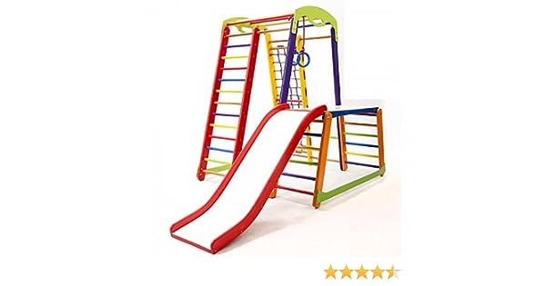 KindSport Centro de Actividades con Tobogán JuniorColor-Plus-1-1, Red de Escalada, Anillos, Escalera Sueco, Campo de Juego Infantil: Amazon.es: Juguetes y juegos