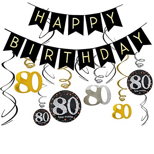 80th Birthday Banners for 80th Birthday Decorations,Mom/Dad 80th Birthday Party Supplies, 80 Birthday Decorations for Happy 80th Birthday
