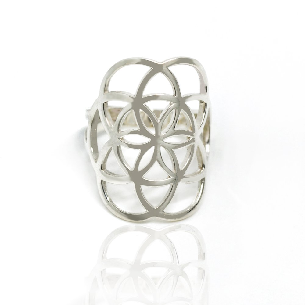 925 Sterling Silver Cut-out Open Wide Flower of Life 25mm Band Ring for Women - Nickle Free, Size 9