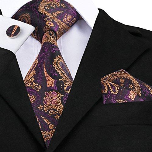 Dubulle Paisley Mens Necktie Pocket Square Cufflinks Ties Set Jacquard Woven Silk Neck Tie Hanky Handkerchief