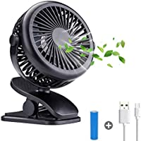 acetek Battery Operated Stroller Fan,Portable Rechargeable Fan,360°Rotation Clip on Fan,1600mah Battery Fans,Super Quiet USB Mini Desk Fan for Baby, Car Seat,Travel