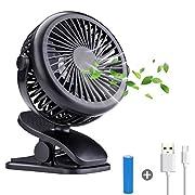 Acetek Stroller Fan for Baby Clip on Fans,Battery Operated Rechargeable Portable Fan,360°Rotation,1600mah Battery Power,Super Quiet USB Mini Desk Fan for Baby, Car Seat,Travel
