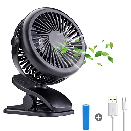 for Baby Clip on Fans,Battery Operated Rechargeable Portable Fan,360°Rotation,1600mah Battery Power,Super Quiet USB Mini Desk Fan for Baby, Car Seat,Travel ()