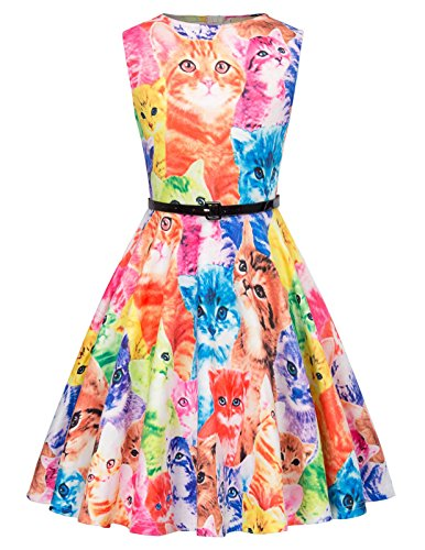 Kate Kasin Teen Girls Vintage Dress Round Neck