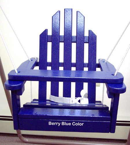 Blue Children's Adirondack Swing - Rope & Seat Belt Included - Weather Resistant Aspen Wood -16 Inches square x 20 inches High - Made in USA –BLUEBERRY BLUE by Kids Outdoor Porch Swing