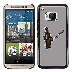 Be Good Phone Accessory // Dura Cáscara cubierta Protectora Caso Carcasa Funda de Protección para HTC One M9 // Warrior Gold Bronze Grey Swordsman