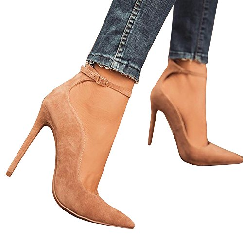 Pumps Pointy Strap High Up Heels beige Women's Hotiques Toe Dress Lace Z Ankle Buckle xn8gAWP