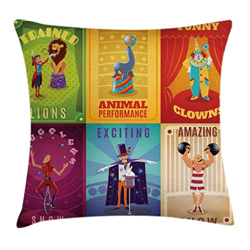 Ambesonne Circus Throw Pillow Cushion Cover, Circus Characters with Trained Animals The Strong Man Trapeze Artist Retro Show Design, Decorative Square Accent Pillow Case, 18 X 18 inches, -