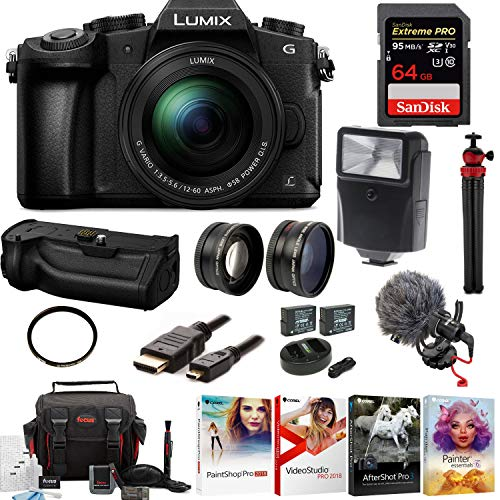Focus Camera Panasonic Lumix G85 4K Kit,12-60mm Lens, DMW-BGG1 Battery Grip, Rode Video Micro