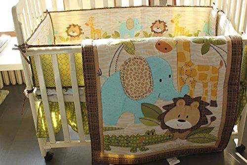 NAUGHTYBOSS Unisex Baby Bedding Set Cotton 3D Embroidery African Forest Lion Elephant Giraffe Pattern Quilt Bumper Bedskirt Mattress Cover 7 Pieces Set Yellow