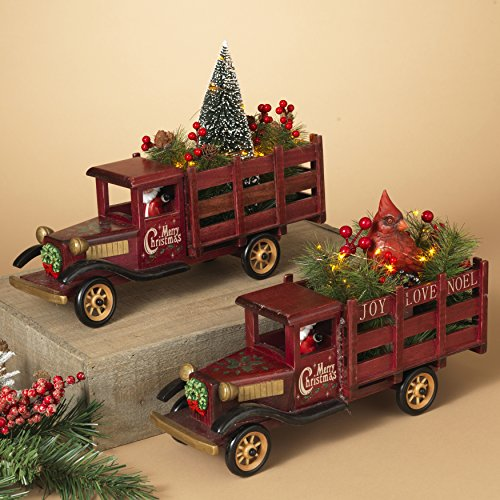 Wooden Trucks Hauling Christmas Tree and Cardinal Figurine Set with 15 Energy Efficient LED Lights by GIL