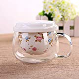 YF-TOW 300ML Porcelain Tea Cup Set Ceramic Glass Travel Mug Brewing...