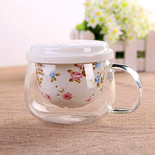 YF-TOW 300ML Porcelain Tea Cup Set Ceramic Glass Travel Mug Brewing Teapot with Infuser and - Lid Teapot