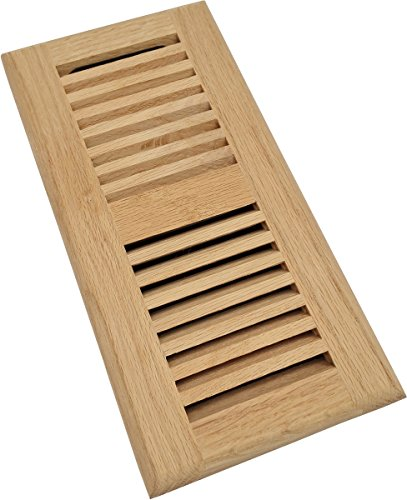 Homewell Red Oak Wood Floor Register, Drop in Vent with Damper, 4x10 Inch, Unfinished by Homewell