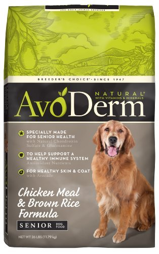 AvoDerm Natural Chicken Meal and Brown Rice Formula Senior Dog Food, 26-Pound by AvoDerm