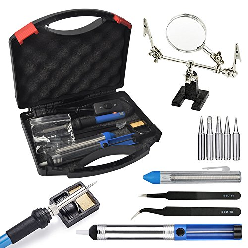 Soldering Iron Kit Bundle with Magnifying Glass Carry Case 60W Adjustable Temperature Soldering Iron 5 Pieces Different Tips Desoldering Pump Solder Wire Tweezers and Stand with Sponge Soldering Craft Iron
