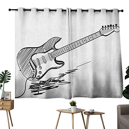 Guitar Grommet top Darkening Curtains Hand Drawn Style Electric Guitar on White Backdrop Rock Music Accords Sketch Art Curtain for Living Room Black White W63 x L45