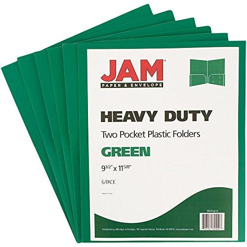 - JAM Paper Heavy Duty Plastic 2-Pocket Folders - Green - 6 folders per pack