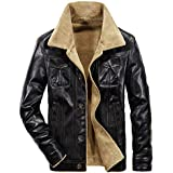 Most Gifted! Teresamoon Fashion Men's Autumn Winter Casual Pocket Button Thermal Leather Jacket Top Coat