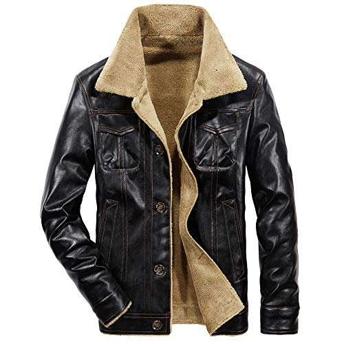 (Men's Faux Leather Jacket Brown Motorcycle Bomber Shearling Suede Collar)