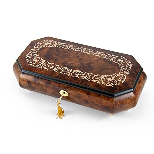 Handcrafted Cut-Corner Music Box With Arabesque Wood Inlay Design - In the Good Old Summertime by MusicBoxAttic
