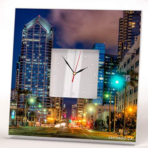 Skyline San Diego California Panoramic Downtown Wall Clock Framed Mirror Decor Art Home Design Gift