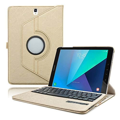 Boriyuan Samsung Galaxy Tab S3 9.7 Case with Keyboard - 360 Degree Rotating Stand Cover Leather Portfolio Case with Bluetooth Wireless Keyboard for Tab S3 9.7 inch 2017 (SM-T820/T825)- Gold
