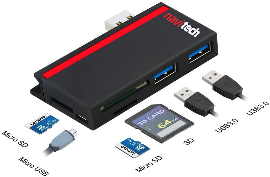 Navitech 2 in 1 Laptop//Tablet USB 3.0//2.0 HUB Adapter//Micro USB Input with SD//Micro SD Card Reader Compatible with The Dell Latitude 3180 11.6 Inch//Dell Latitude 3189 11.6 Inch