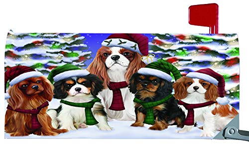 Magnetic Mailbox Cover Cavalier King Charles Spaniels Dog Christmas Family Portrait in Holiday Scenic Background MBC48213 ()