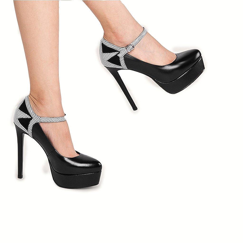 Hyun Times Einzelne Schuhe Schwarz 12,5 cm High Heel Frauen Fine mit Wasserdichten Plattform Schuhe Schnalle High Heels schwarz