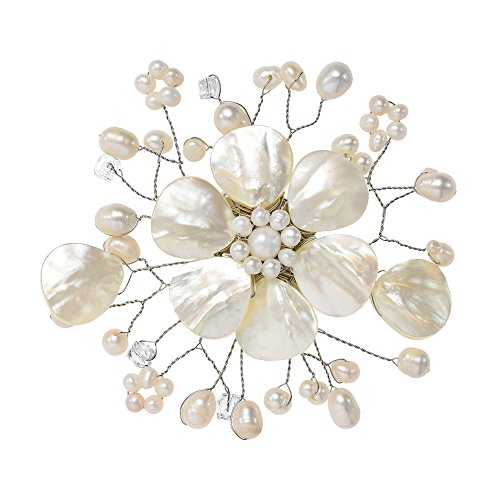 White Cultured Pearls Pin Brooch (Cute Mother of Pearl and Cultured Freshwater White Pearl Floral Ray Pin or Brooch)