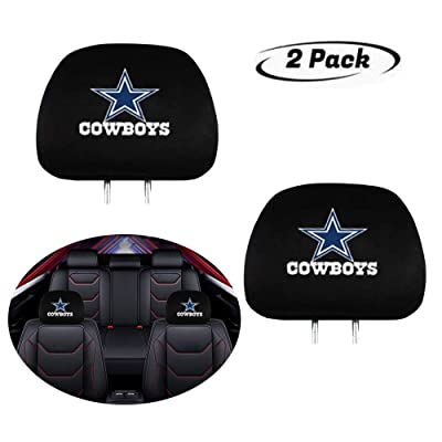 Luckily 2-Piece Universal Car Seat Headrest Covers for Dallas Cowboys, Black Printed Soft Elastic Auto Headrest Covers Fit for Most Vehicles: Automotive