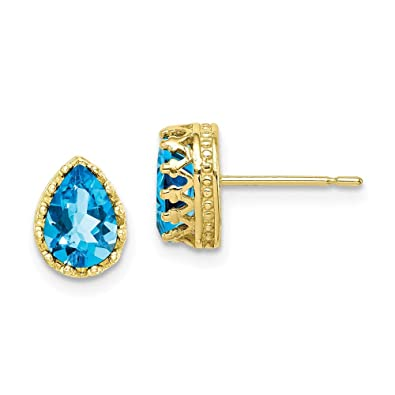 5754f5af8 10k Tiara Collection 8mm Polished Pear Sky Blue Topaz Earrings - Higher Gold  Grade Than 9ct Gold: Amazon.co.uk: Jewellery
