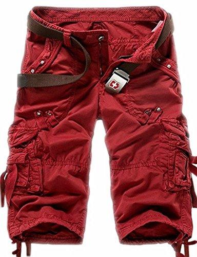Generic Men 3/4 Length Multi Pocket Solid Cargo Shorts on sale