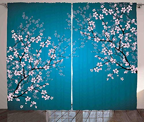 Ambesonne Teal Curtains Decor, Pink Blossoms Art Leaves and Plants Ombre Spring Japanese Sakura Flowers in Garden Park, Living Room Bedroom Window Drapes 2 Panel Set, 108 W X 108 L Teal Pink from Ambesonne