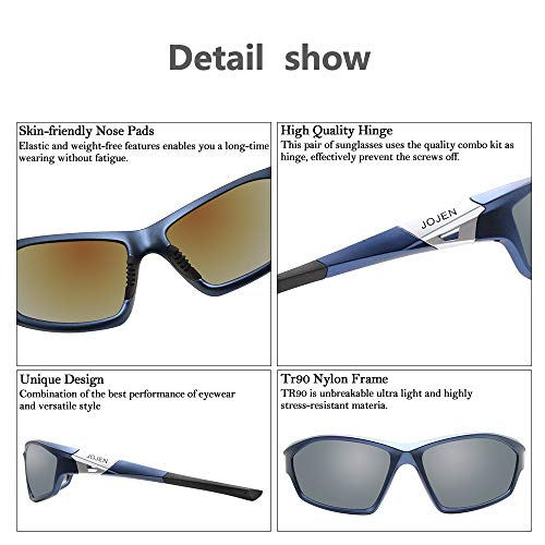 JOJEN Polarized Sports Sunglasses for Men Women Running Cycling Fishing Hunting Golf Tr90 Ultralight Unbreakable Frame TAC Lens JE008(Blue Frame Mercury Lens)